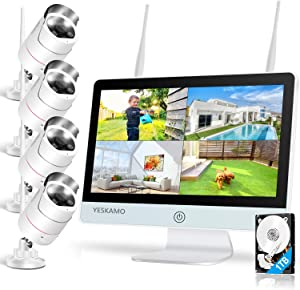 Floodlight Wireless Security Camera System with 12'' Monitor 2 Way Audio, YESKAMO Outdoor 3MP WiFi IP Cameras AI Human Detection Siren Alarm, 1080P HD Screen Home Surveillance System with Hard Drive
