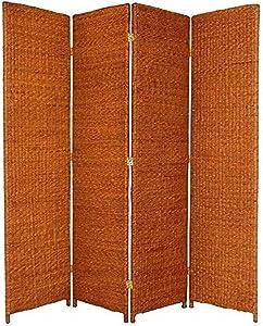ORIENTAL Furniture Abundant Sustainable Natural, 6-Feet Tall Rush Grass Woven Room Divider, 4 Panel, Honey