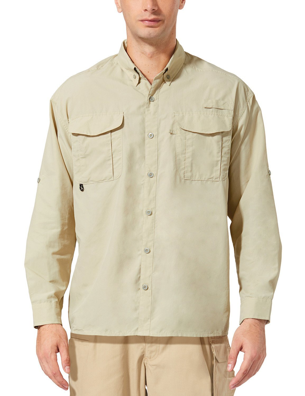 Baleaf Men's Outdoor UPF 50+ Sun Protection Long-Sleeve Shirt Khaki Size L