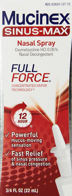 Mucinex Sinus-Max Full Force Nasal Decongestant Spray, 0.75 Ounce (Pack of 5) , Mucinex-fjwy