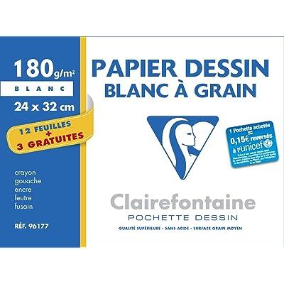 Clairefontaine 96177C Dessin à Grain pochette 15F 24x32cm 180g à grain Blanc - 3F gratuites