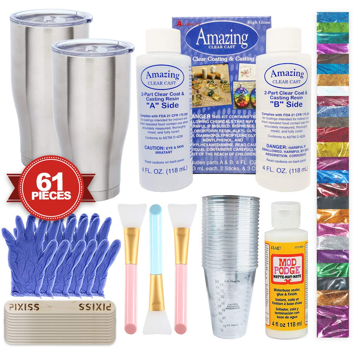 Epoxy Glitter Tumblers Kit, Includes Amazing Clear Cast Epoxy for Tumblers, Silicone Epoxy Resin Brushes, Glitter, Mod Podge