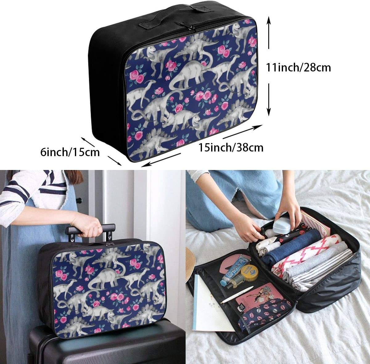 Dinosaurs And Roses Travel Carry-on Luggage Weekender Bag Overnight Tote Flight Duffel In Trolley Handle