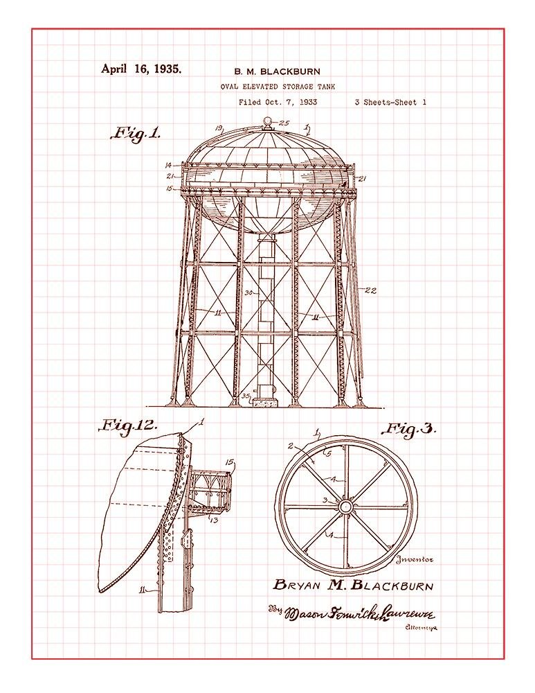 Amazon com: Water Tower Patent Print Art Poster Blue Grid (8