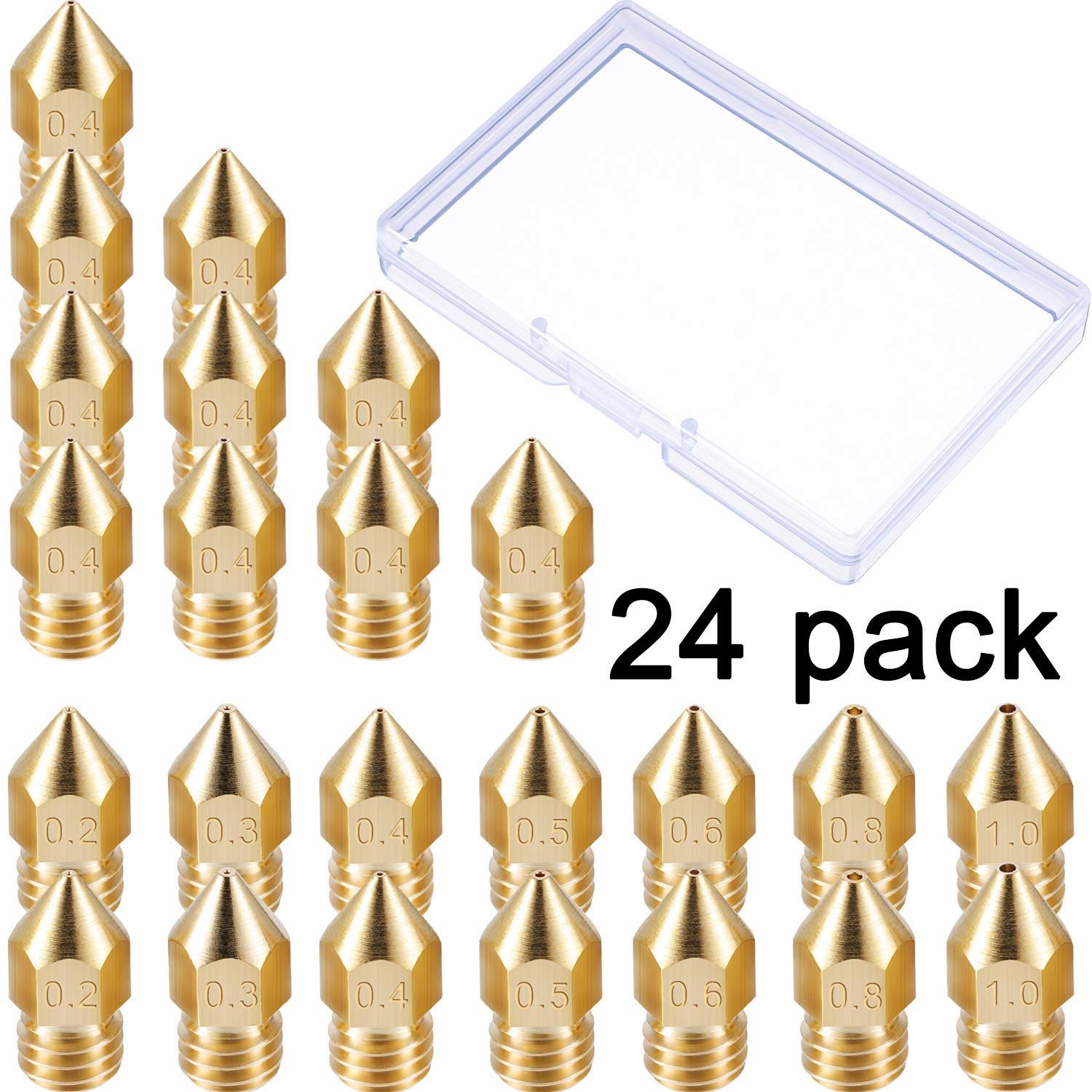 24 Pack 3D Printer Extruder Nozzles MK8 Nozzle 7 Different Size 0.2 mm, 0.3 mm, 0.4 mm, 0.5 mm, 0.6 mm, 0.8 mm, 1.0 mm with Clean Box Compatible with Makerbot Creality CR-10