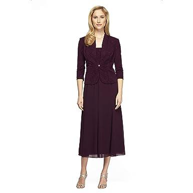1c26f22cf0 Alex Evenings Women s Tea-Length Mock Jacket Dress at Amazon Women s  Clothing store