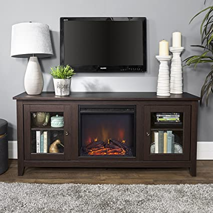 New 58 Inch Wide Fireplace Tv Stand With Glass Doors Espresso Brown Finish