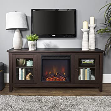 Amazon Com New 58 Inch Wide Fireplace Tv Stand With Glass Doors