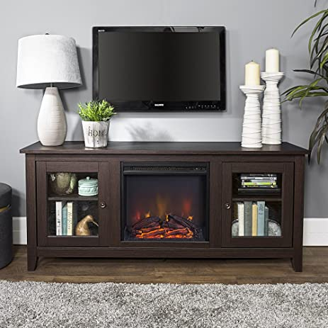 Buy New 58 Inch Wide Fireplace Tv Stand with Glass Doors-Espresso Brown Finish: Television Stands & Entertainment Centers - Amazon.com ? FREE DELIVERY possible on eligible purchases