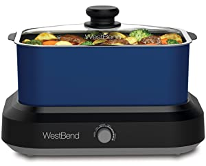 West Bend 87906B Large Capacity Non-Stick Versatility Cooker with 5 Different Temperature Control Settings Dishwasher Safe, 6-Quart, Blue