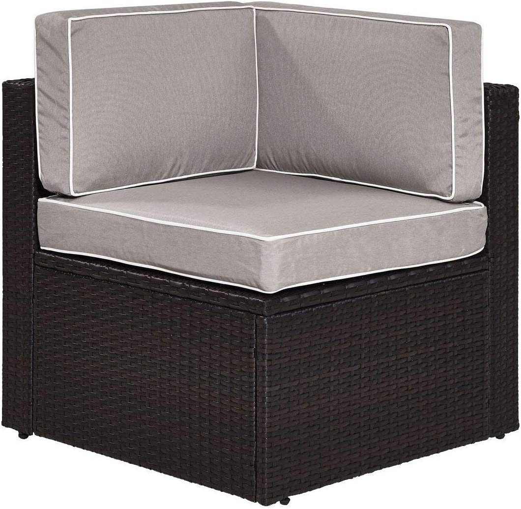 Crosley Furniture KO70089BR-GY Palm Harbor Outdoor Wicker Corner Chair, Brown with Gray Cushions