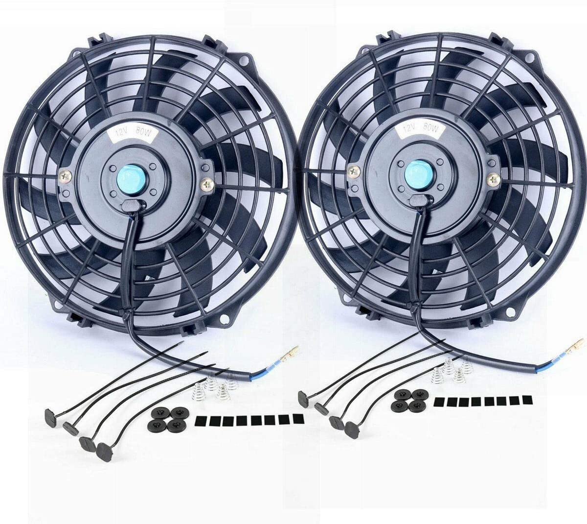 """Upgr8 2 Pack Universal High Performance 12V Slim Electric Cooling Radiator Fan With Fan Mounting Kit (9"""" 2-Pack)"""
