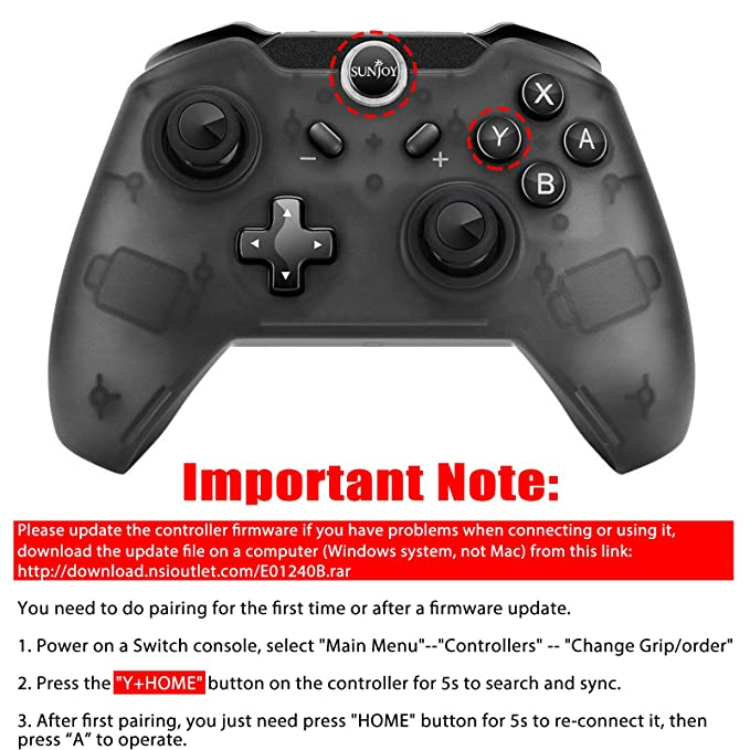 Sunjoyco Wireless Remote Controller for Nintendo Switch, Wireless Pro  Controller Gaming Gamepad Joypad for Nintendo Switch Console, Gyro Axis  Dual