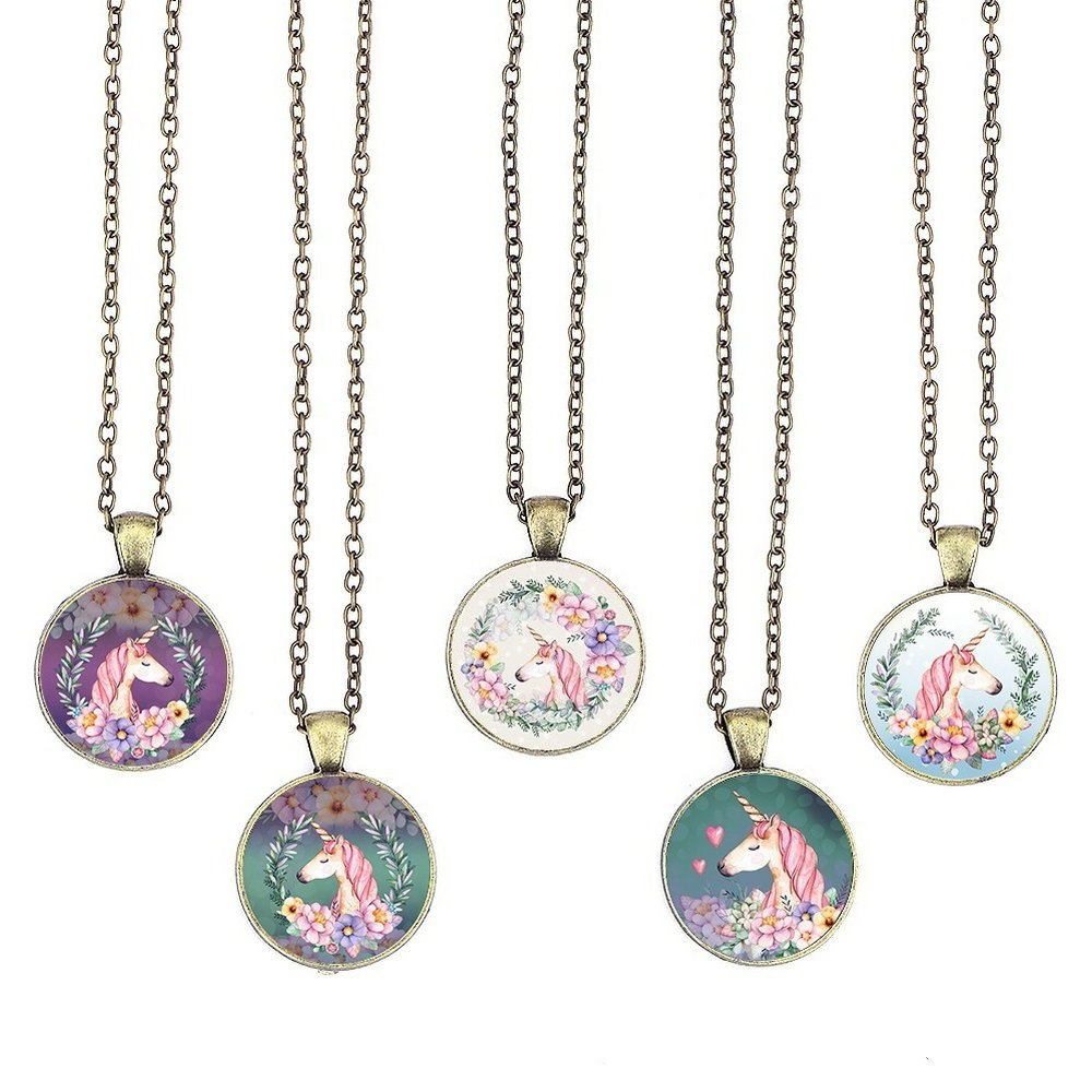 BUENAVO Unicorn Pendant Necklace Glass Cabochon Pendant Vintage Art Inspired Necklace with 24 inches Copper Oval Chain Antique Bronze Finish Pendant Handmade for Gifts 5pcs (Unicorn 5)