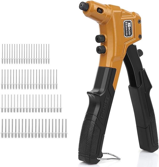 Nietenzange Set Bosi Blindnietzange 8 200mm Nietzangen 80 Aluminium Nieten 4 Austauschbare Mundstücke Baumarkt