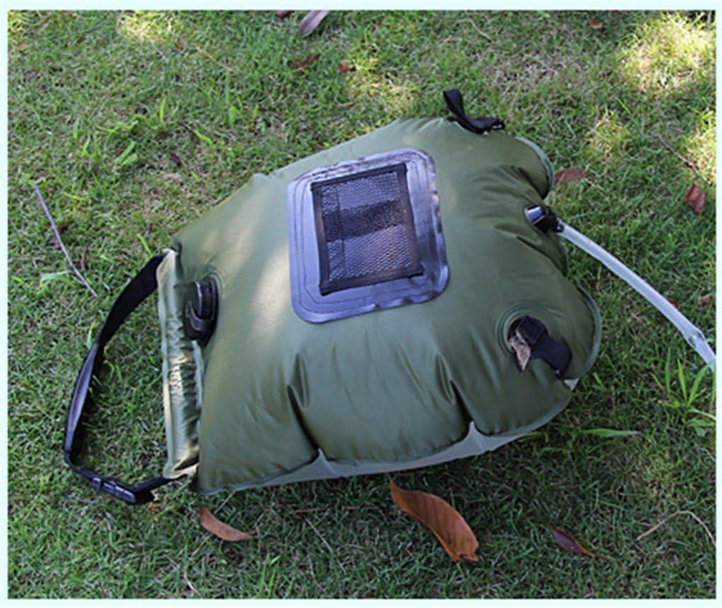 CFtrum Bolsa Ducha Solar 20L PVC Plegable Port/átil para Camping Excursi/ón Al Aire Libre Color Negro