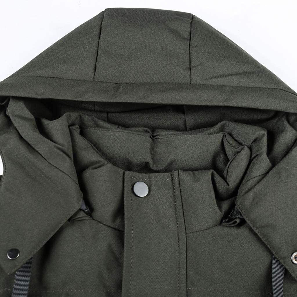 AILMY Mens Mid-Length Jacket Cotton-Padded Solid Coat Thickened Zipper Drawstring Hoodie Outwear L-4XL