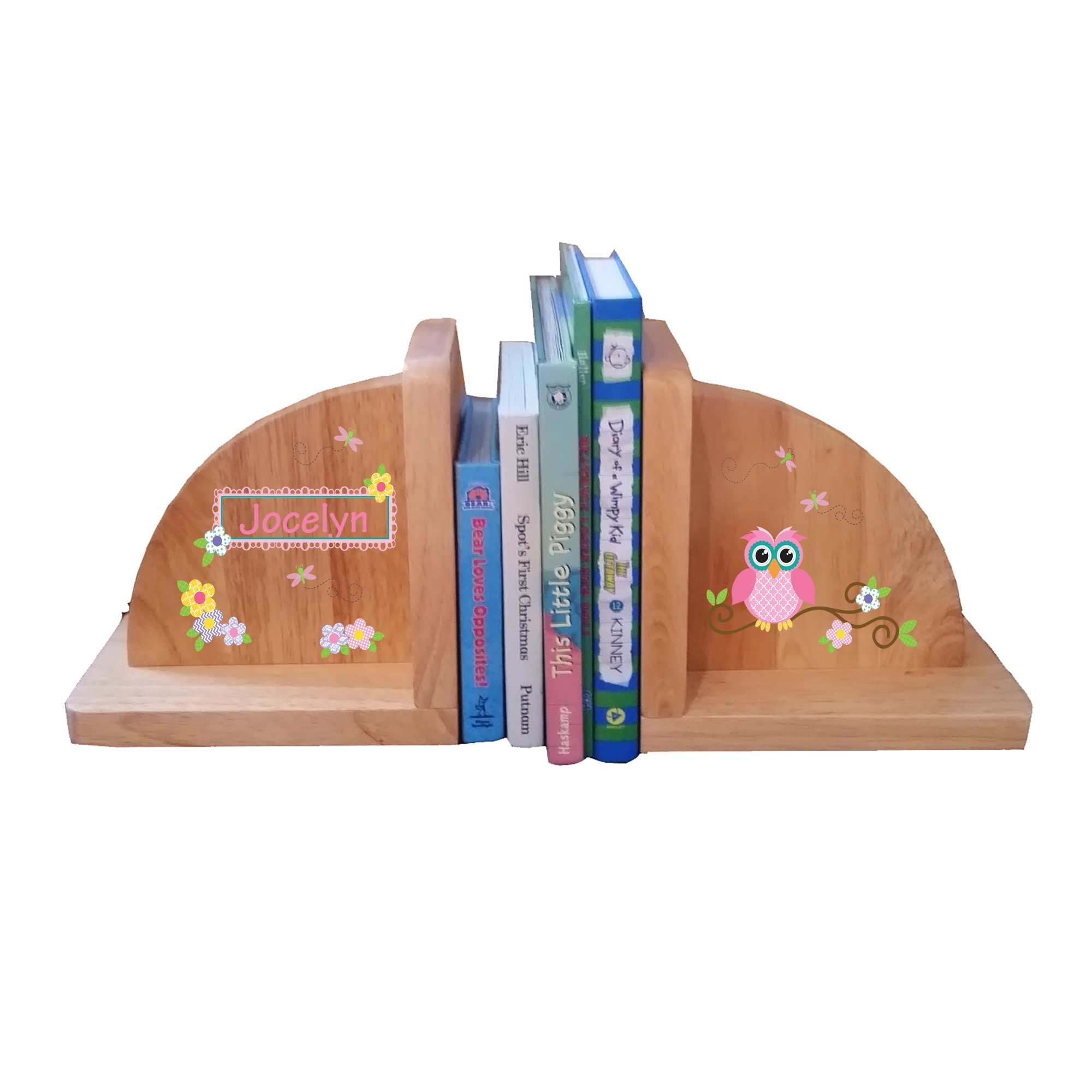 Personalized Calico Owl Natural Childrens Wooden Bookends