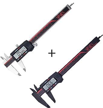 VINCA DCLA-0605 and DCPA-0605E Quality Electronic Digital Vernier Caliper Bundle 0-6 Inch//150 mm Extra Large Screen Auto Off Measuring Tool