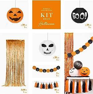Horeca Collection [Pack Ahorro Kit Completo Decoración Halloween - Contiene 2 guirnaldas, Cortina Metalizada Foil ...