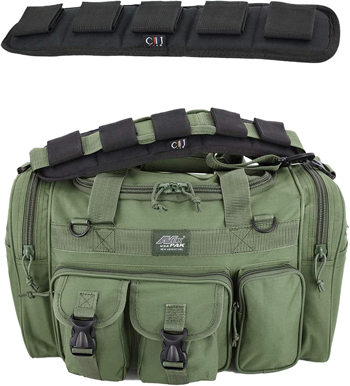 "Nexpak TF118ODGN Olive Green 18"" Inch 1800 Cu. In. Duffel Duffle Molle Tactical Carry On Shoulder Bag + Heavy Duty Shoulder Pad"