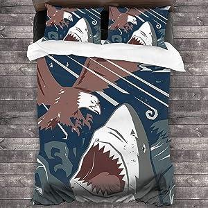 "KellHay Modern Murky Motley of The Battle of Shark Vs. Eagle Attack Fight Power 3-Piece Bedding Set Comforter Quilt Set 86""x70"""