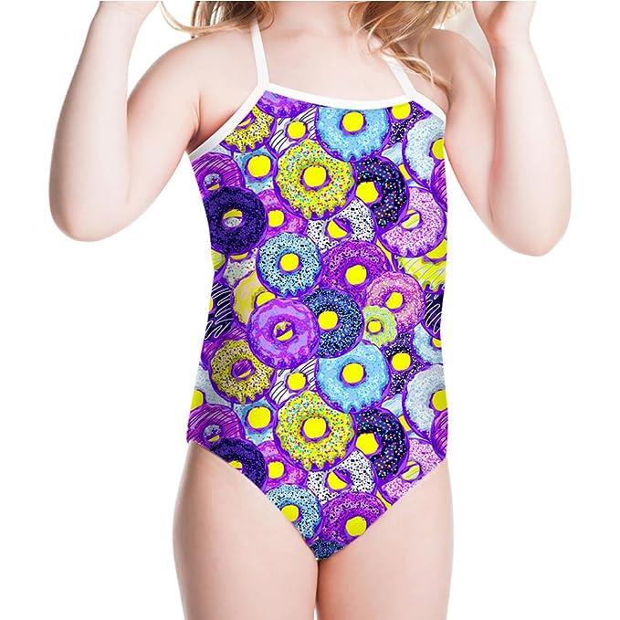 aeb534801b Showudesigns Girls'Halter Swimsuit One Piece Doughnut Purple Bathing Suit