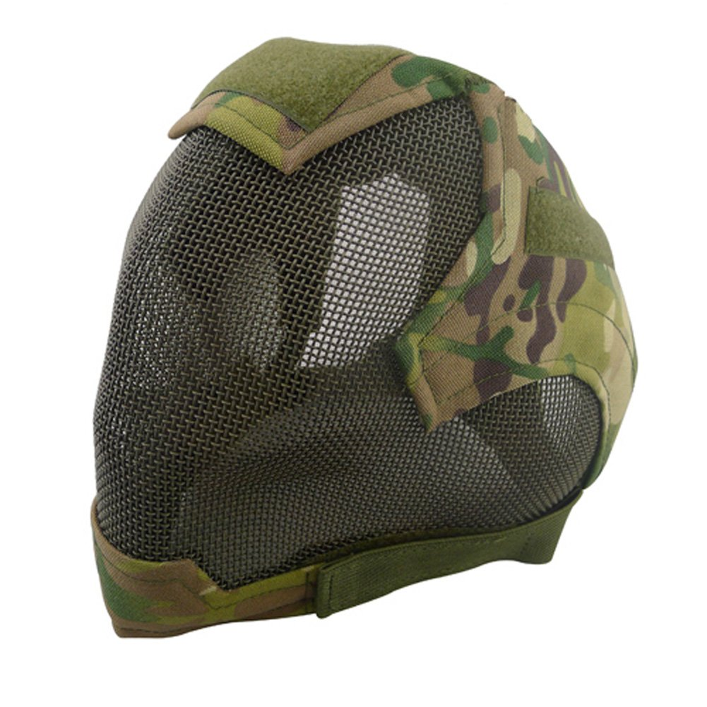 Amazon.com : V6 Steel Net Mesh Fencing Cosplay Mask Full Cover Face Protective Tactical Military Paintball Mask (ACU) : Sports & Outdoors