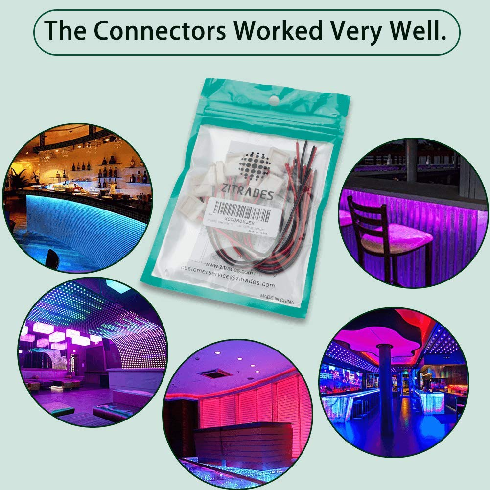 Zitrades Led light strip connector 2pin 10mm single color 5050SMD 10pcs solderless wire GK1398415