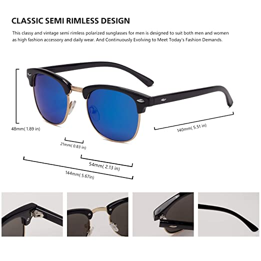 Amazon.com: Gafas de sol polarizadas semi sin bordes, para ...