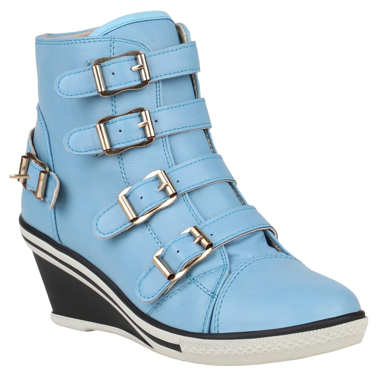 Stiefelparadies Damen Sneaker Wedges mit Keilabsatz Flandell Blau Carlet
