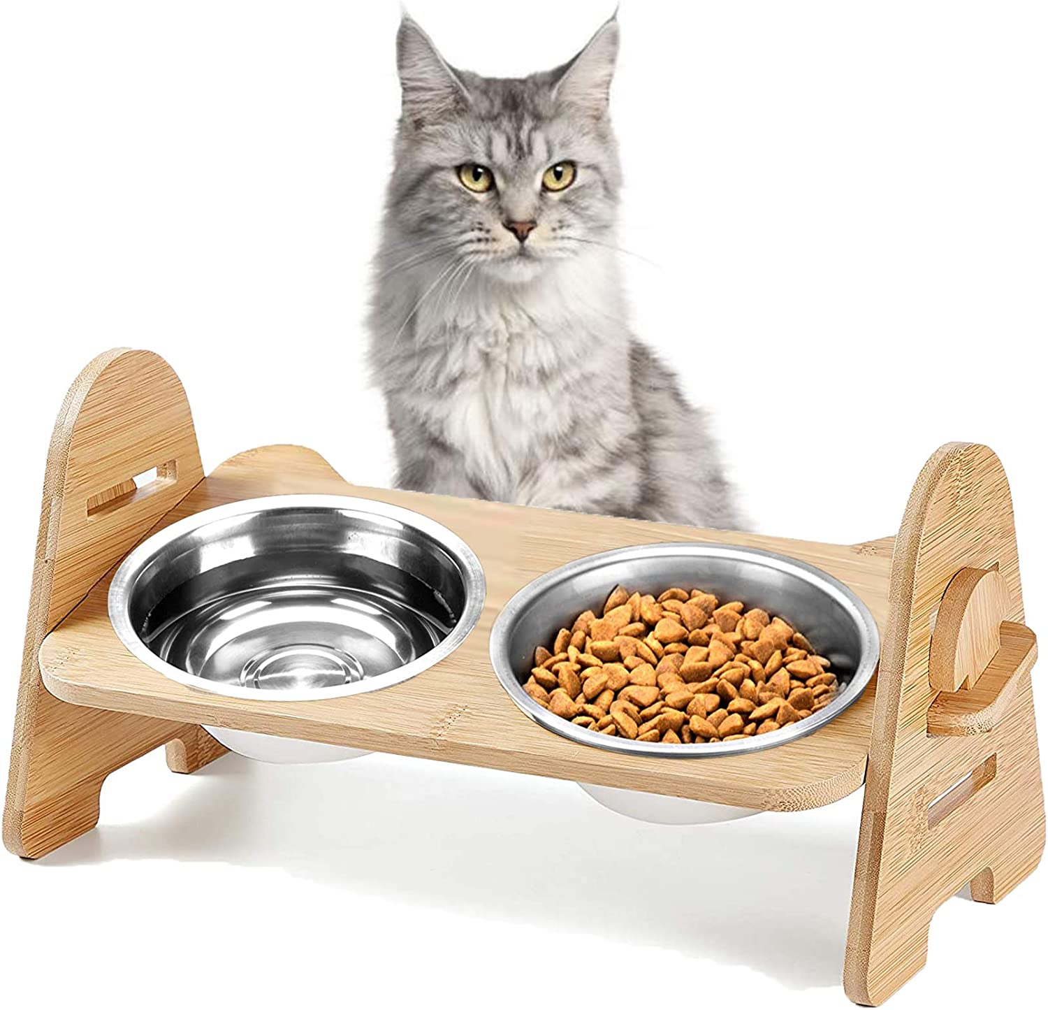 Height-Adjustable Cat Bowl,Solid Bamboo Frame Raised Cat Food Bowls Anti Vomiting,Tilted Elevated Cat Bowl,Stainless Steel Pet Food Bowl for Flat-Faced Cats,Small Dogs,Protect Pet's Spine