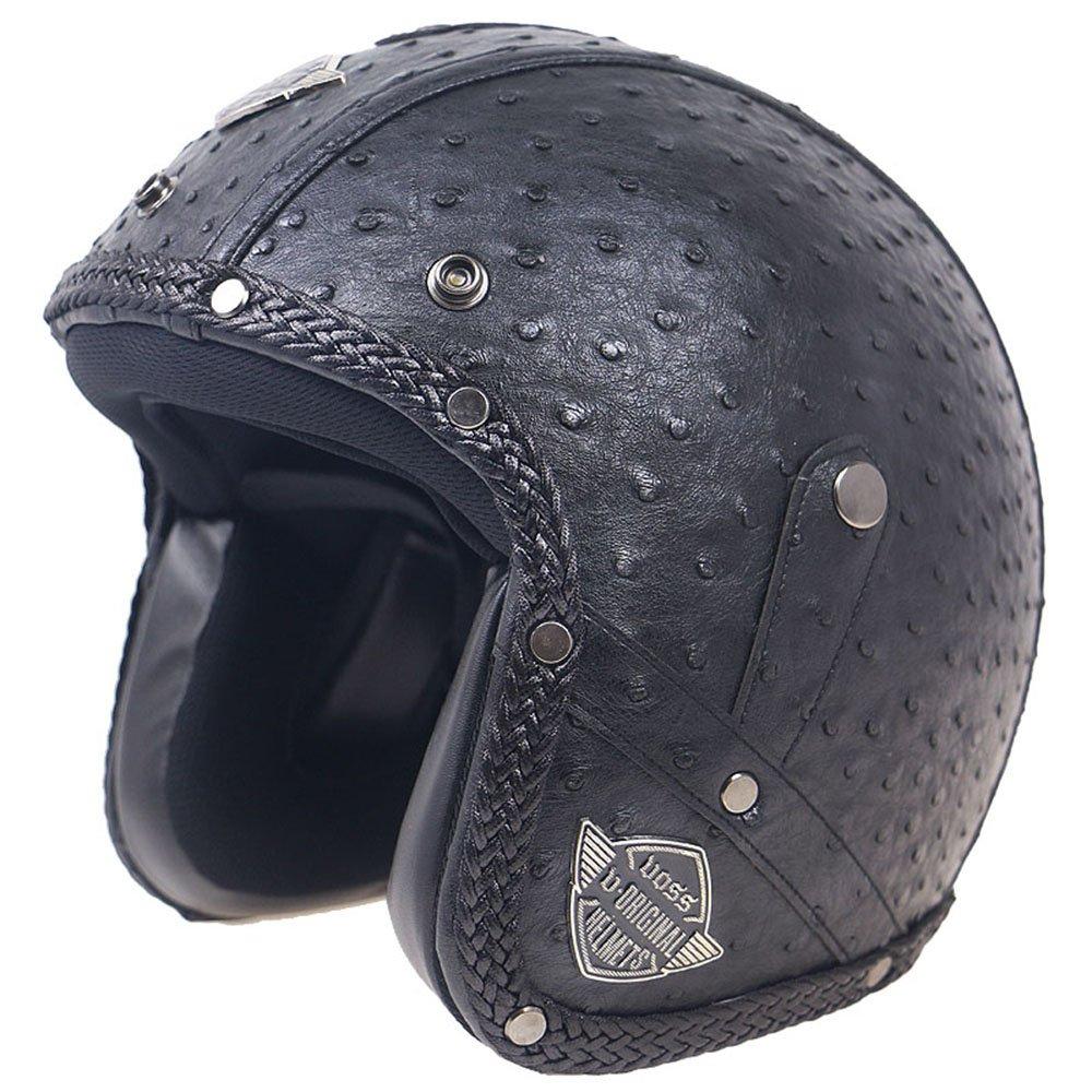 KKmoon Caschi in pelle PU retro faccia antivento e sandproof 3/4 moto integrale nero classico con Occhiali M