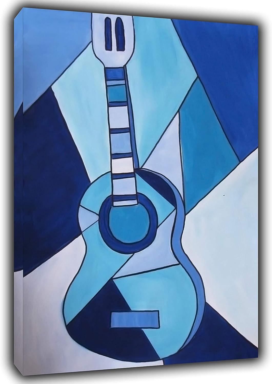 Pablo Picasso - Pintura para guitarra, diseño de cuadros, color azul, azul, 30'' x 24'' inch(76x 60 cm)-38mm depth