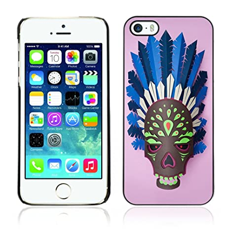 Caucho duro Carcasa para Apple Iphone 5 y 5S – Máscara de calavera indio