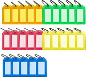 25 Pack Key Tags with Label Window, Plastic Key Labels with Split Ring for Luggage Tag Keychain, 5 Colors
