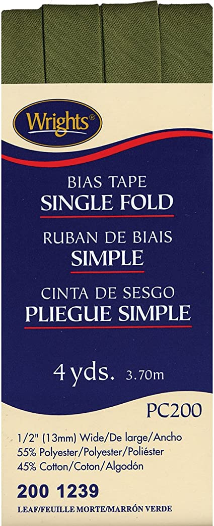 Bias Tape Single Fold 0.5 inches Wide 4 yards by Wrights Choose Color