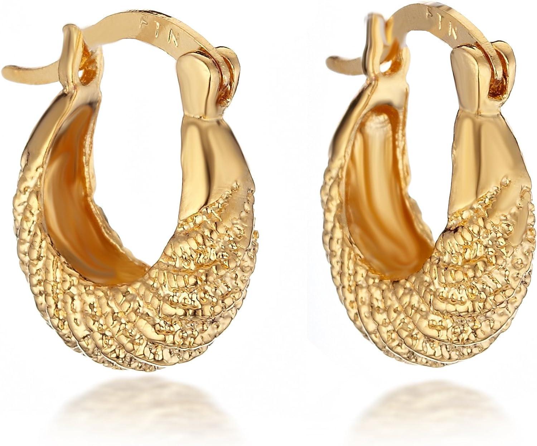 Gemini Mujer 18K Oro Amarillo Relleno Relleno Aro Pendientes Huggie Para Mujeres Día De San Valentín Gm067