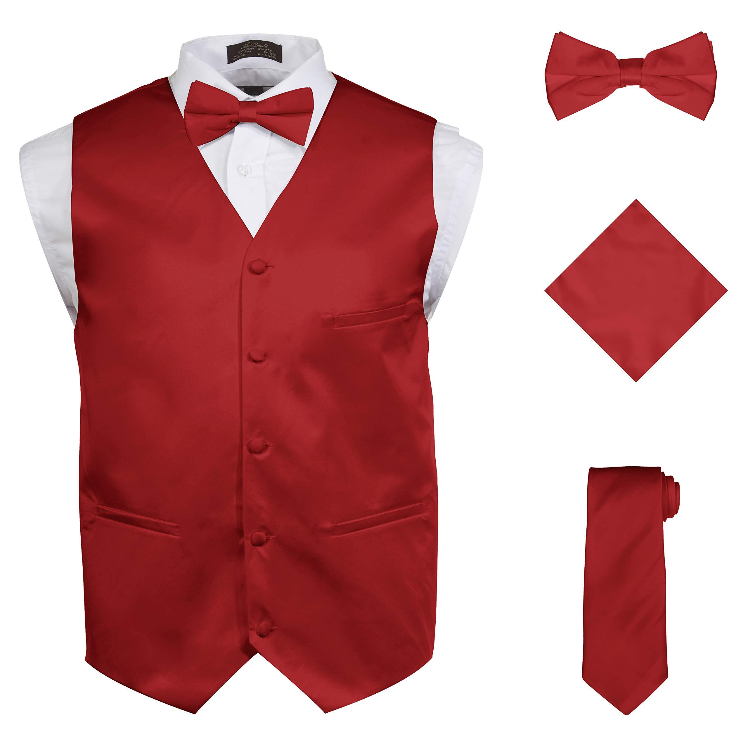 Vittorino Vittorino's Mens 4 Piece Formal Vest Set Combo With Tie Bow Tie and Handkerchief, Red, Medium