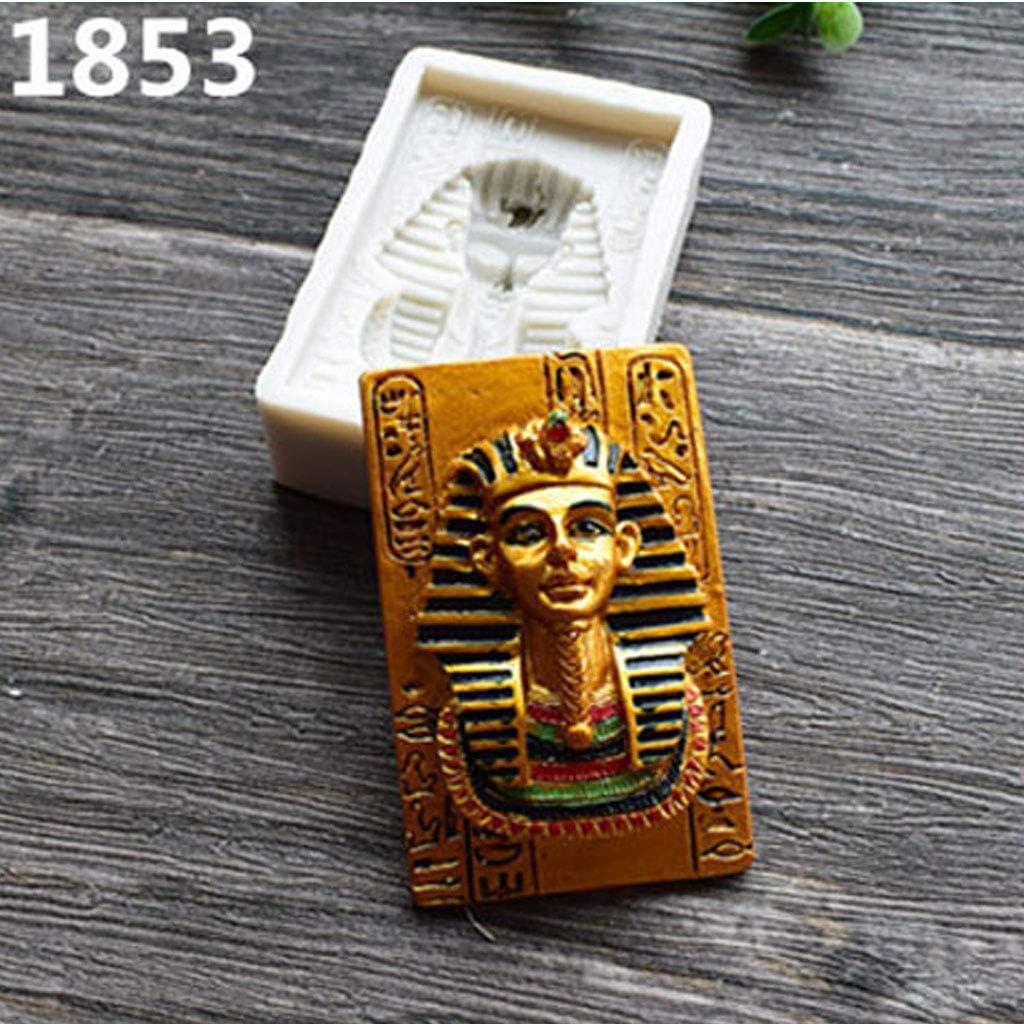 ZHIZHOU Egyptian Pharaoh Resin Mold Silicone Fondant Cake Decor Polymer Clay Resin Mold