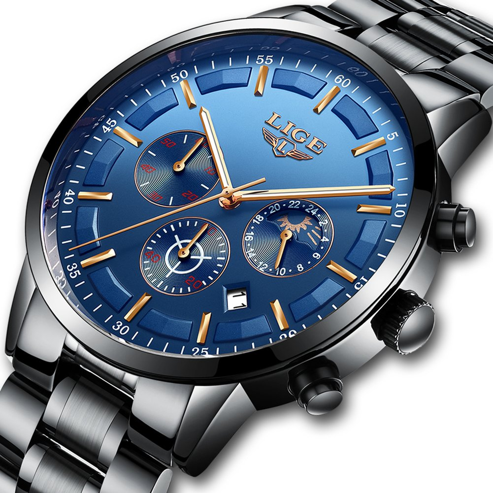Watches Men Waterproof Analog Quartz Wrist Watch Men Luxury Brand LIGE Chronograph Sport Watch Man Black Stainless Steel Blue Business Clock by WISHDOIT