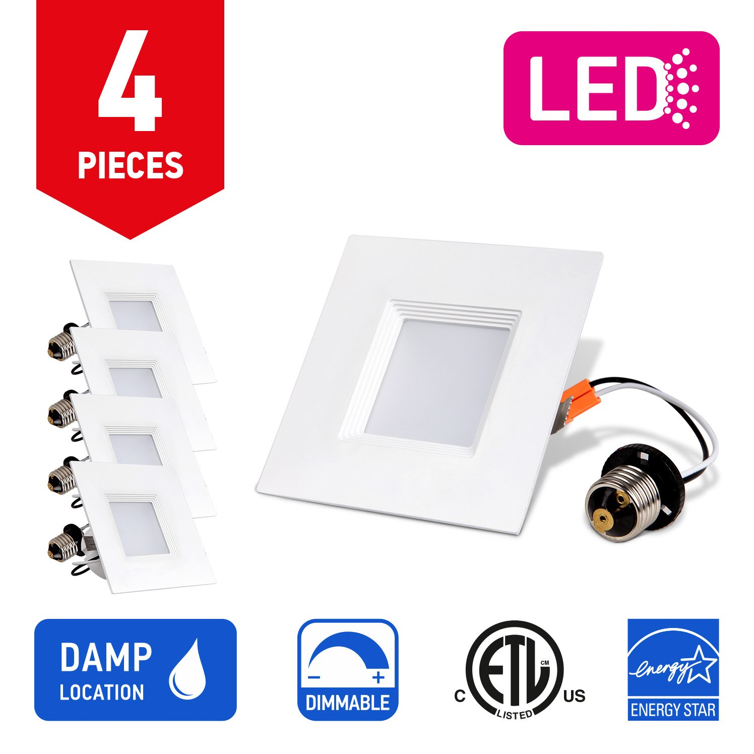 OSTWIN Recessed Lighting, Led 4-inch Can Pot Lights for Ceiling, Square Downlight Retrofit Kit Fixture, Baffle Trim, 10W (50 Watt), 5000K (Daylight) Dimmable, (4 Pack) ETL & Energy Star Listed