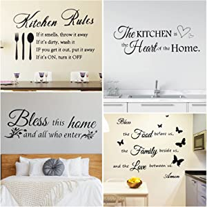 4 Sheets Kitchen Wall Decals Kitchen Rules Wall Stickers Bless The Food Before Us Positive Kitchen Wall Decal Bless This Home and All Who Enter Kitchen for Wall Decal Home Decor
