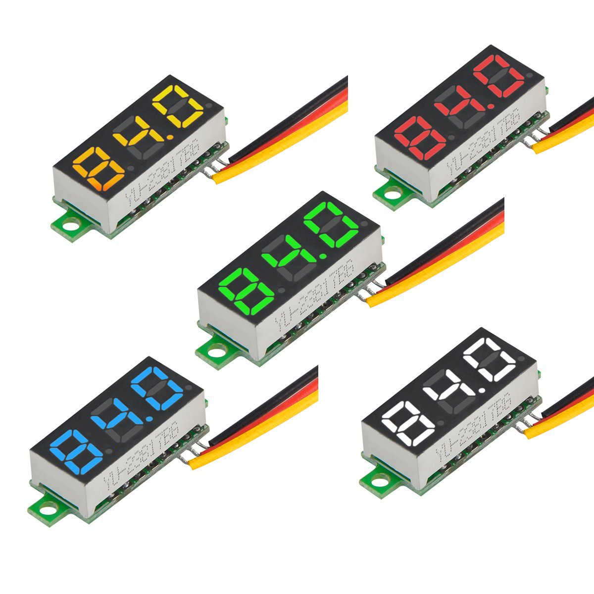 MakerFocus 5pcs Mini Digital Voltmeter DC 0.28 Inch Three-Line DC 0-100V Mini Digital Voltmeter Gauge Tester LED Display Reverse Polarity Protection and Accurate Pressure Measurement 5 Colours by MakerFocus (Image #8)