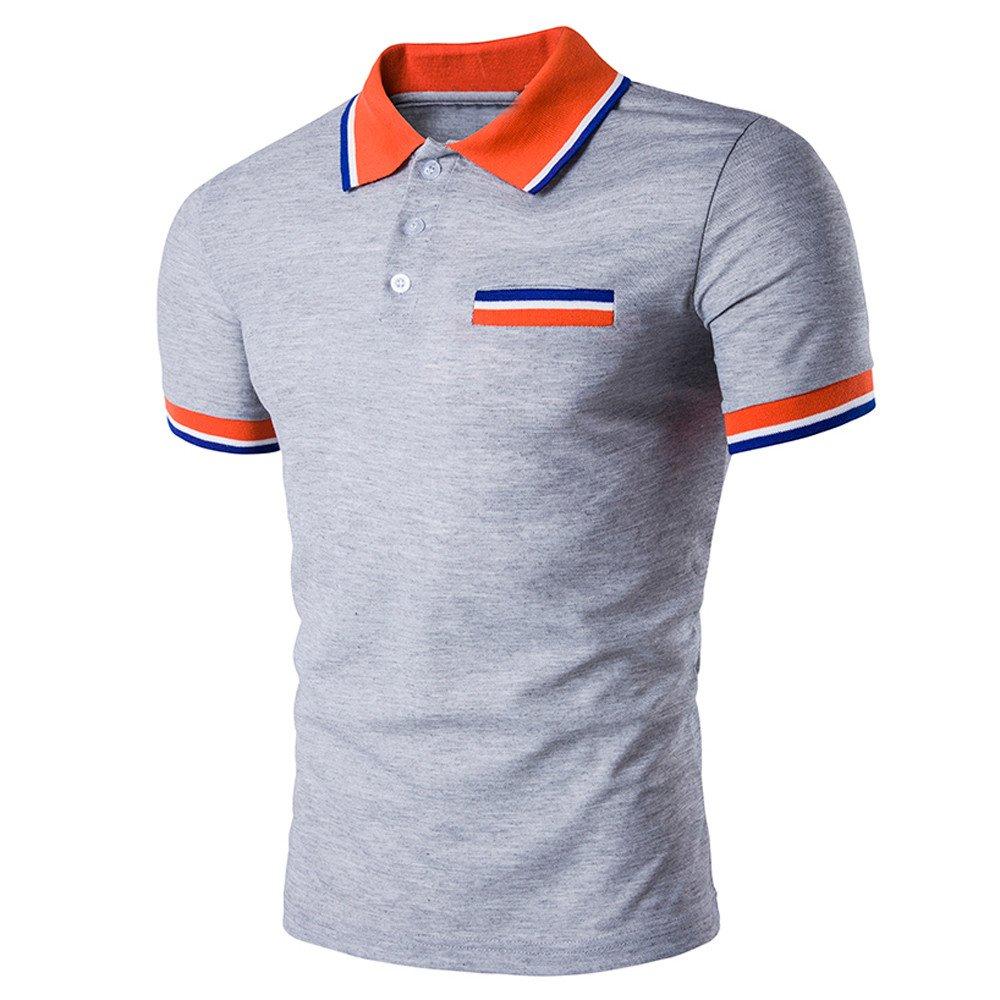 Dressffe Men Summer Polo Shirt Buttons Design Half Cardigans Short Sleeve Slim Fit Casual T Shirt (S, Grey)
