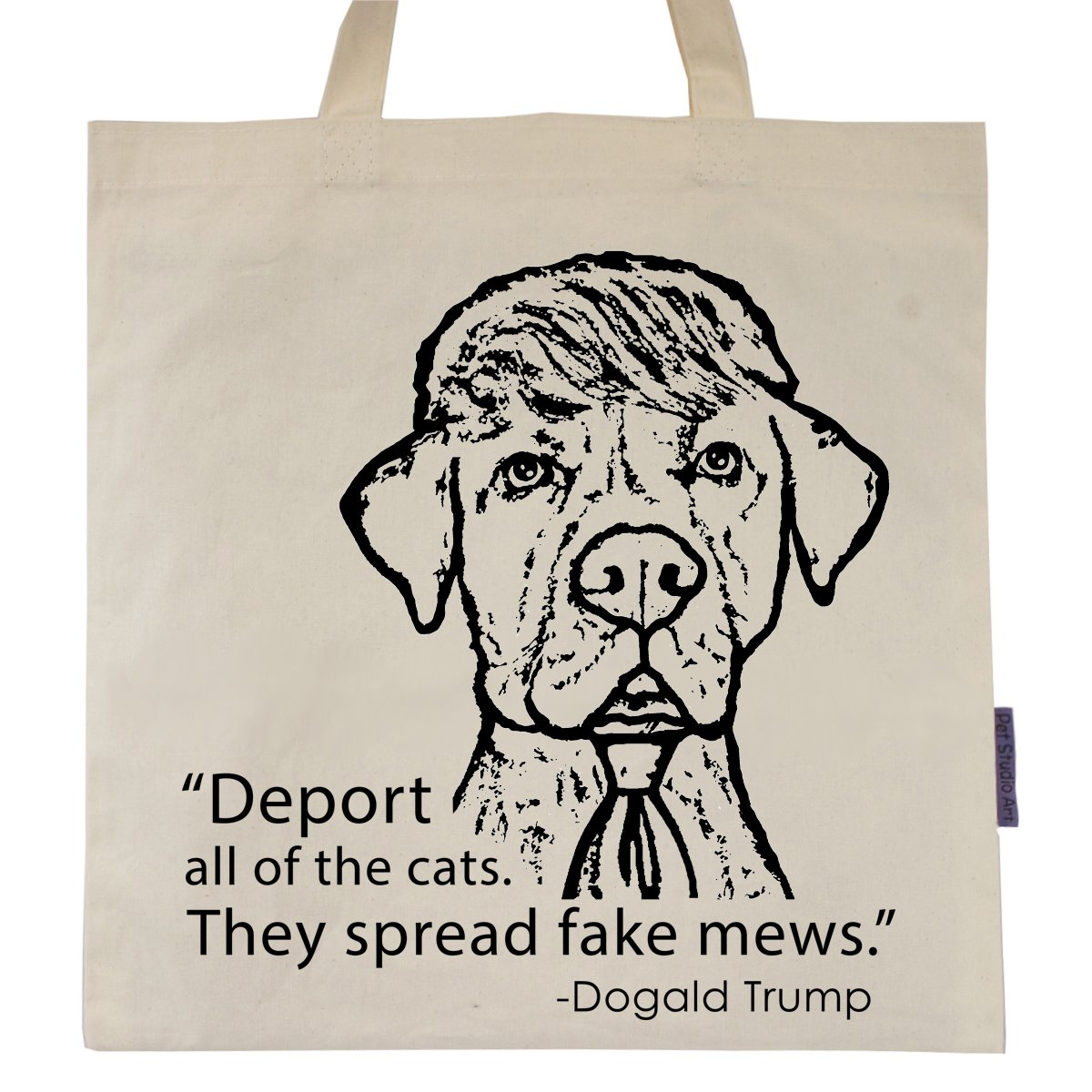 Funny Dog Tote Bag by Pet Studio Art (The Dogald)