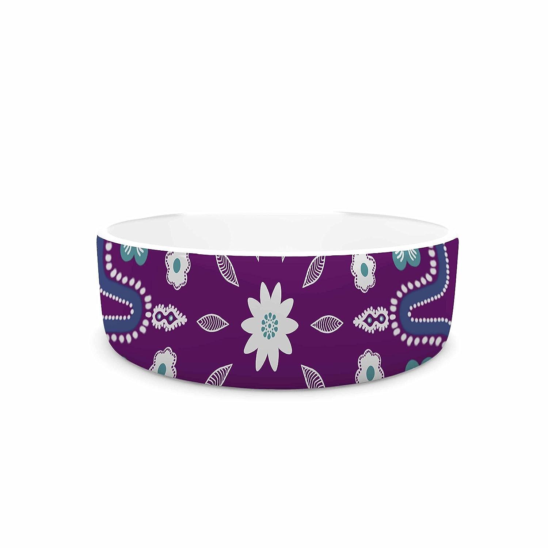 KESS InHouse Cristina Bianco Design Purple Mandala Purple White Illustration Pet Bowl, 7