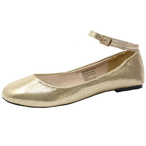 501e427f5a7 alpine swiss Calla Womens Gold Suede Lined Ankle Strap Ballet Flats 5 M US
