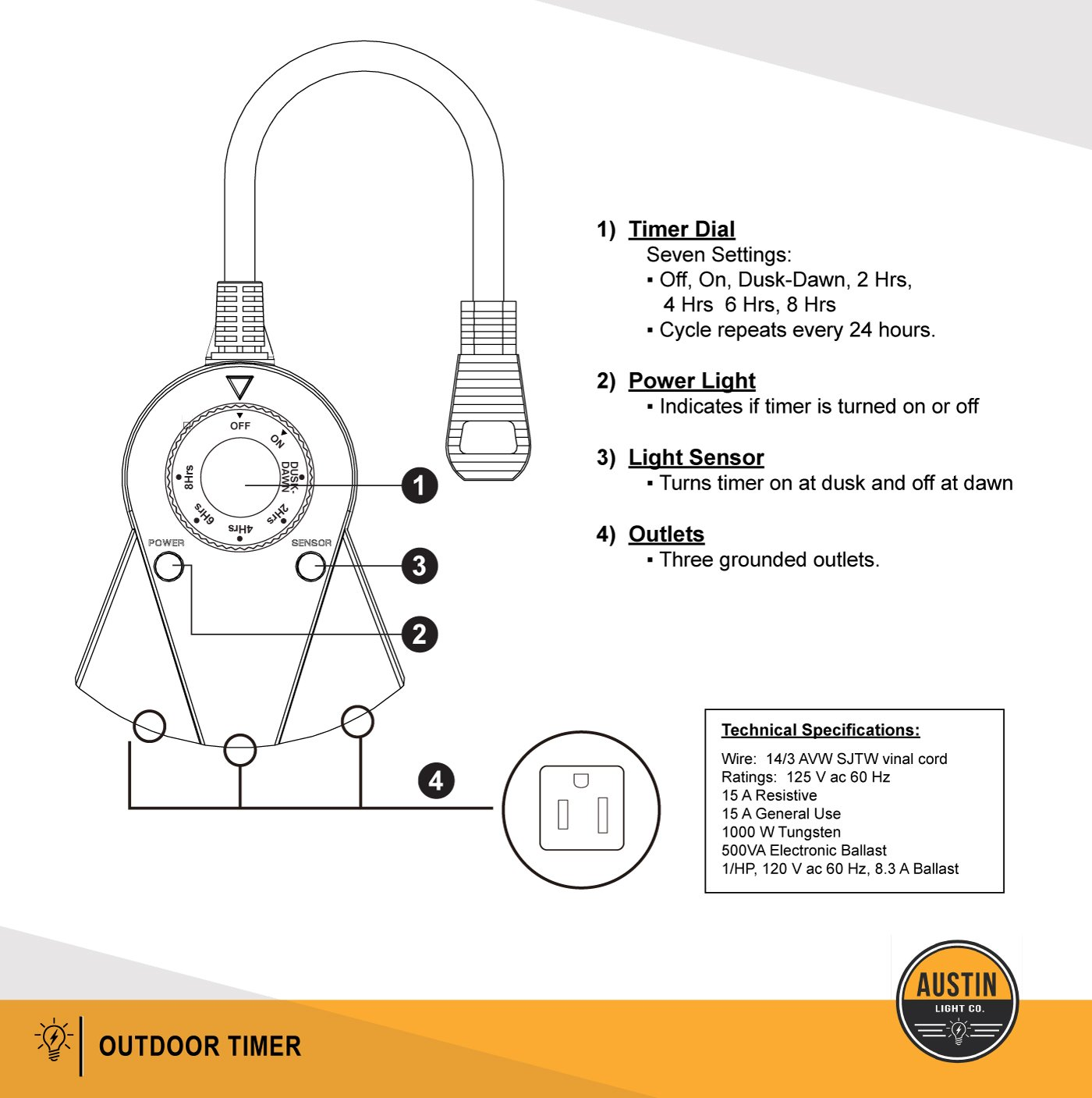 Austin Light Co Outdoor Outlet Timer With Photocell Seven Wiring Diagram Sensor Weatherproof Black Ul Listed Indoor And Commercial Grade