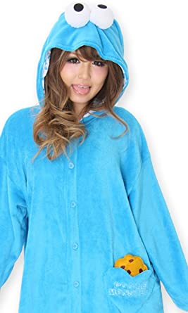 Amazon.com  Sesame Street Cookie Monster Costume Kigurumi - Adult Pajamas  Fancy Dress  Clothing c801fa660e1b